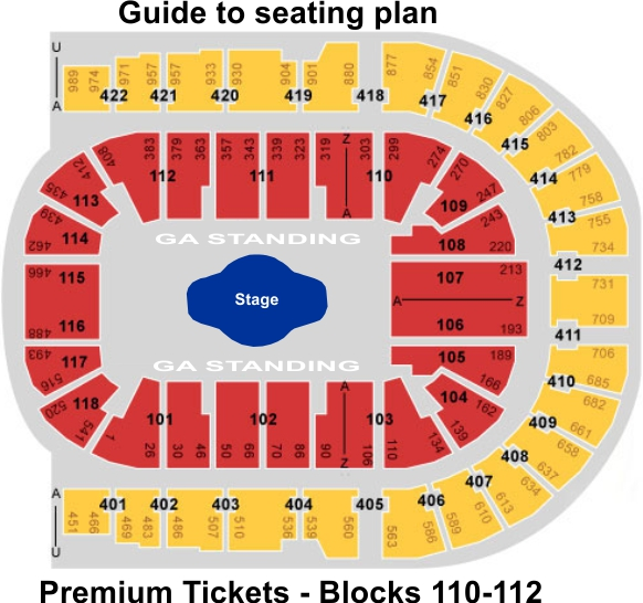 London O2 Arena Guide To Seating Plan