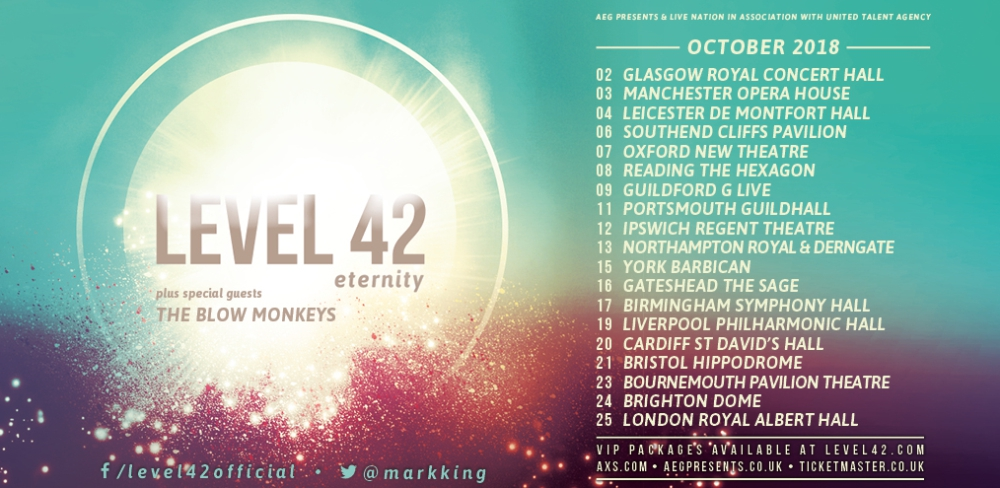 Vip concert tickets 2018 and vip ticket experiences live gigs home page level 42 eternity tour dates 2018 level 42 vip ticket descriptions book on sale now level 42 eternity tour 2018 vip ticket experiences m4hsunfo