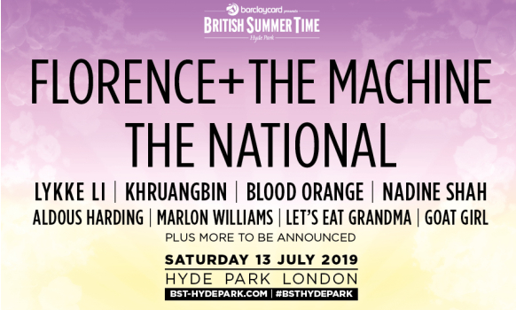 Florence+ The Machine and The National Tickets BST Hyde Park 2019