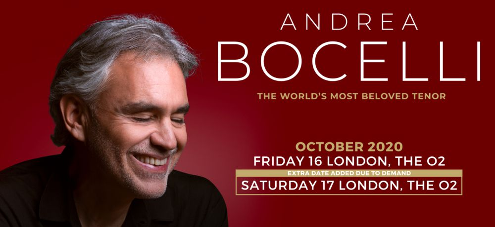 Andrea Bocelli London The O2 2020